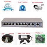 Переключатель 8 Port Poe с 3 портами 10/100Mbps Uplink Giga для разрешения сети камеры IP HD (TS1108F)