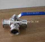 Robinet à tournant sphérique serré de la voie Ss304 3 sanitaire de la Chine tri