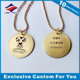 De ronde Markeringen van de Hond van het Gouden Plateren van de Vorm In reliëf gemaakte met de Ketting van de Bal