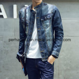 Jaqueta de denim de moda masculina Blue Splice Denim Coat