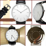 Reloj Reloj del cuero del reloj del cuarzo del acero inoxidable de la manera