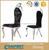 Tampas de jantar pretas traseiras elevadas da cadeira com teste padrão