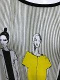 Vestito diritto stampato a strisce per le donne