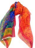 관례는 100%년 뽕나무 실크 시퐁 주름 여자 스카프를 인쇄했다 (AMA170609-10)