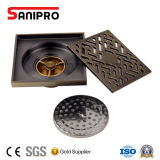 Dreno quadrado de bronze antigo do chuveiro do assoalho do banheiro e da cozinha de Sanipro