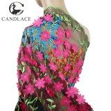 Tessuto multicolore di Tulle del merletto del fiore 3D per la festa nuziale