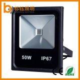 Indicatore luminoso di inondazione esterno della PANNOCCHIA LED del Portable 50W dell'alloggiamento IP67 di approvazione di RoHS del Ce del giardino nero impermeabile del lavoro
