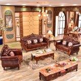 Il sofà di cuoio di legno ha impostato per la mobilia del salone (929U)