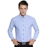 Camice 100% di vestito convenzionali da affari degli uomini blu superiori del cotone