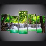 HD imprimió la lona tropical verde Mc-033 del cuadro del cartel de la impresión de la decoración del taller de impresión de la lona de pintura de la cascada