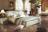 이탈리아 작풍 단단한 나무 침실 가구 진짜 가죽 침대