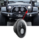 Phare de 7 pouces DEL avec l'oeil de cornière du halo RVB de lumière de spire de DRL pour le Wrangler de jeep