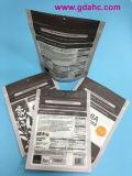 Piani inferiori si levano in piedi in su il sacchetto composito dell'alimento del documento di plastica della chiusura lampo