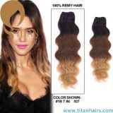 Three Tone Ombre Color Indian Human Remy Hair Weft