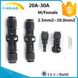 Conetores Mc4X-A10 masculinos/da fêmea 20A-30A TUV-1500VDC IP67 painel solar