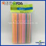 Paille à boire en plastique de couleur fluorescente d'approvisionnement d'usager flexible (FL075)