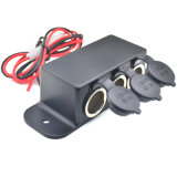 Waterproof Motorcycle Tripple Car Cigarette Lighter Socket Adapter Power Outlet