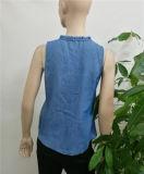 2017年のブラウスの女性の夏の刺繍のデニムファブリックブラウスの方法デザイン袖なしの女性セクシーなベスト