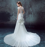 Robe de mariage plissée par trompette de sirène de lacet de Sleeveles avec le Bowknot détachable