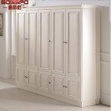 Mobília do Wardrobe do gabinete de armazenamento do armário da roupa da porta do branco 4 (GSP17-021)