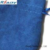 Kundenspezifischer blauer runder Samtdrawstring-Beutel für Geschenk-Schmucksachen