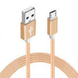 Cabo trançado de nylon do USB dos dados do carregador Micro-USB para o telefone de Samsung