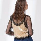 女性方法刺繍のセクシーな網の偽の二つの部分から成ったブラウス