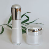 New White/Silver Acrylic Cream Jar Lotion Bottle for Cosmetics (PPC-NEW-108)