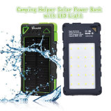 Double Hooks Solar Power Bank Design Colorido 10000mAh Carregador Solar