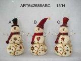 Burlap Snowman Christmas Tree Ornament-3asst.