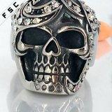 Punkschädel-Kopf-Kristallgesundheits-Edelstahl-Ring für Mädchen