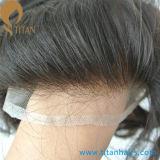 자연적인 보는 표백제는 남자를 위한 프랑스 레이스 머리 Toupee를 매듭을 짓는다