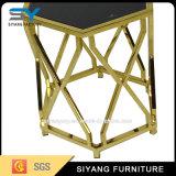 Mesa de extremidade hexagonal de aço inoxidável com vidro fosco