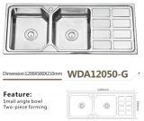 De roestvrije Dubbele Kom van de Hoek van de Gootsteen van de Keuken Kleine met het Model van wda12050-G Iran van het Afvoerkanaal