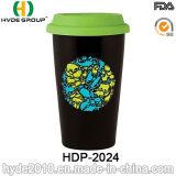 De dubbele Mok van de Koffie van de Muur Plastic met Deksel (hdp-2019)