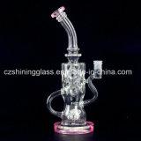 De sexy Rokende Waterpijp van het Glas van de Kleur van het Ontwerp Roze met Zwitserse Douche HoofdPerc