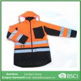 De peso ligero de alta visibilidad hombre impermeable reflectante chaqueta rellenada