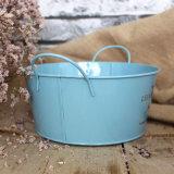 Galvanisé Round Tin Metal Pot Pot De Jardin