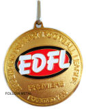 Kundenspezifische Medaille für Fußball-Liga mit Abzuglinie, Vergoldung, Sandblast