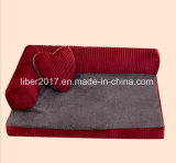 Haustier-Bett-Veloursleder-Gewebe-Haustier-Produkt-große Hundesofa-Luxuxbetten mit Kissen