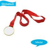Золото сублимации вися медаль шнура Lavaliere с пробелами