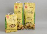 Bolsa de papel de Kraft de la maneta con el acoplamiento para el bolso de empaquetado de las patatas de la fruta