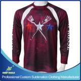 El tirador del lacrosse del muchacho de encargo de la sublimación se divierte las camisetas