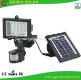 Lumière actionnée solaire de détecteur de mouvement de vente chaude avec 54LED