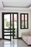 Puerta de aluminio del marco de la prueba de fuego de Pnoc080229ls con el vidrio Tempered