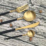Fourche de cuillère de vaisselle de qualité supérieur et jeu de couteau plaqués par or, jeu de couverts d'acier inoxydable