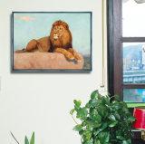 Illustration animale de mur de peinture à l'huile de toile avec le bâti