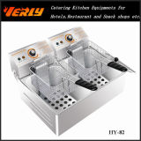 De hete Commerciële Elektrische Braadpan van de Verkoop, de Elektrische Frieten van de Desktop, de Braadpan van Chips, 2 Tanks 2 Manden, Goedgekeurd Ce (hy-82)
