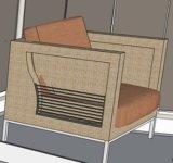 Rattan do PE & mobília do alumínio, sofá ao ar livre do Rattan (SCWB0015-654)