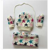 Großhandelsjacquardwebstuhl-strickender Muster-Schal-Hut und Handschuh-Set